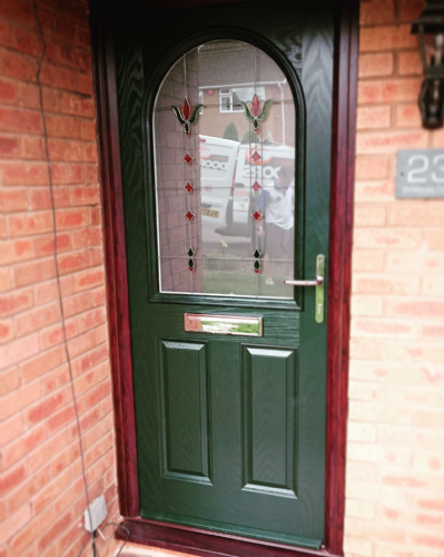 English Rose 2 Panel 1 Arch Glazed Composite Door